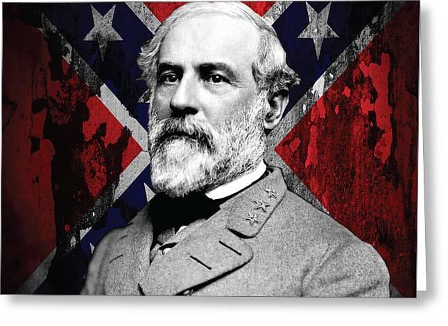 Confederate Flag Greeting Cards - General Robert E. Lee USA Confederate Greeting Card by Reggie Hart