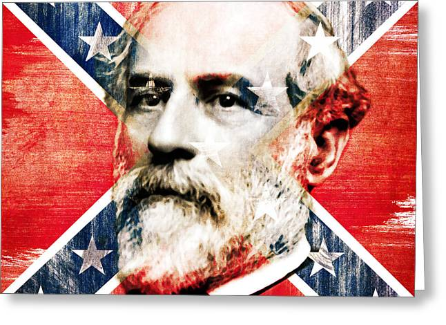 General Robert Lee And The Confederate Flag - By Diana Van Greeting Card by Diana Van
