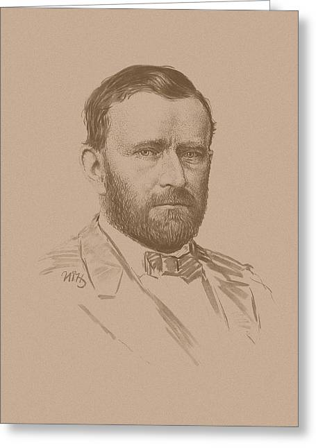 Us History Drawings Greeting Cards - General Ulysses S Grant Greeting Card by War Is Hell Store