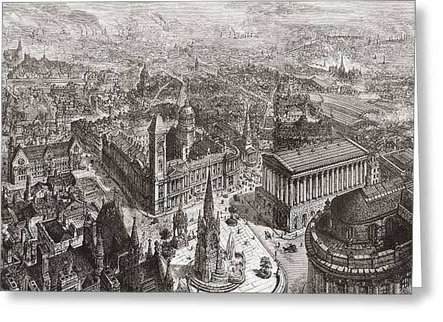 City Hall Drawings Greeting Cards - General View Of Birmingham, West Greeting Card by Ken Welsh