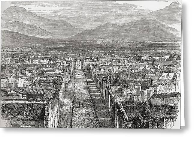 Naples Drawings Greeting Cards - General View Of Pompeii, Naples, Italy Greeting Card by Ken Welsh