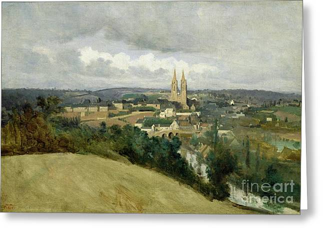 Corot Greeting Cards - General View of the Town of Saint Lo Greeting Card by Jean Corot