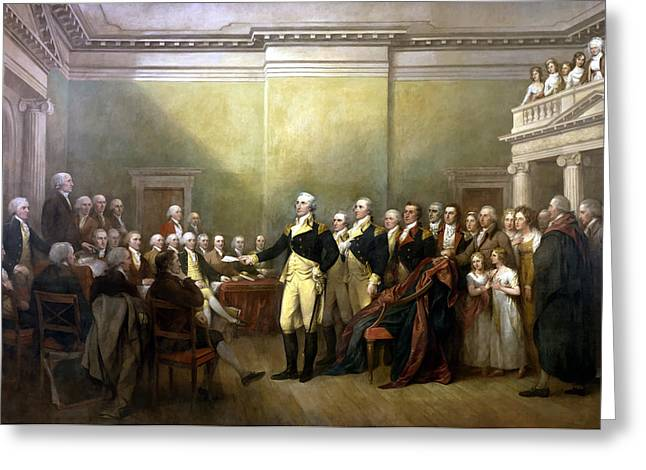 President Paintings Greeting Cards - General Washington Resigning His Commission Greeting Card by War Is Hell Store