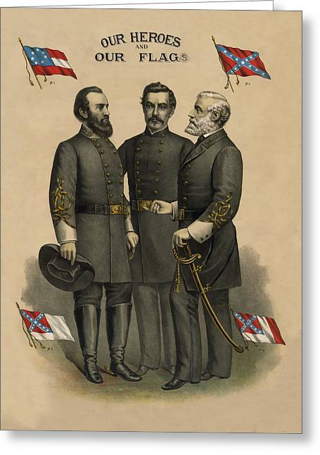 Confederate Flag Greeting Cards - Generals Jackson Beauregard and Lee Greeting Card by War Is Hell Store