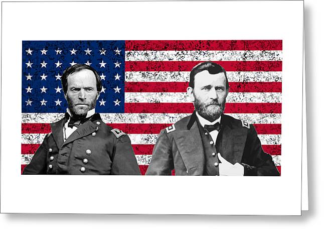 North Sea Greeting Cards - Generals Sherman and Grant  Greeting Card by War Is Hell Store