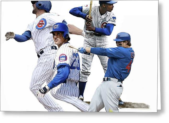 Generations Cubs I  The Chicago Cubs Greeting Card by Iconic Images Art Gallery David Pucciarelli