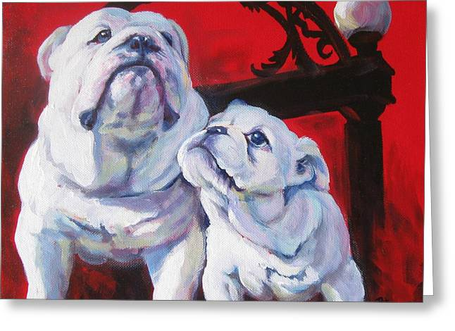 Mascots Paintings Greeting Cards - Generations of UGA Greeting Card by Pat Burns