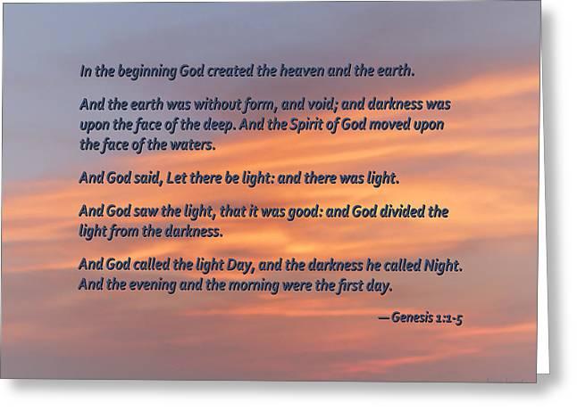 Genesis 1 1-5 In The Beginning Greeting Card by Susan Savad