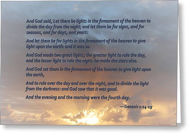 Genesis 1 14-19 ... Let There Be Lights In The Firmament Of The Heaven Greeting Card by Susan Savad