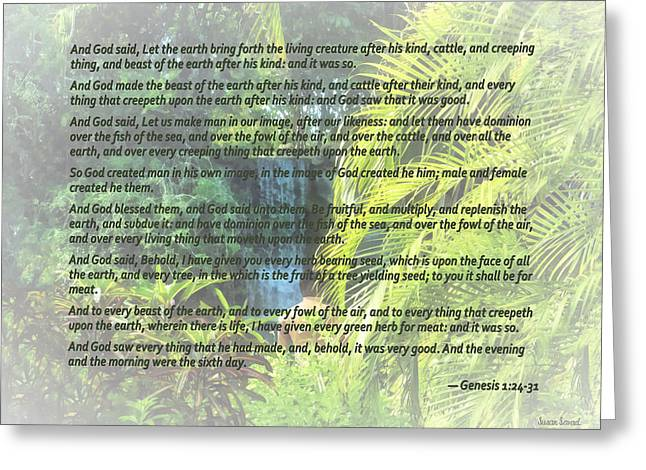 Genesis 1 24-31  Let The Earth Bring Forth The Living Creature Greeting Card by Susan Savad