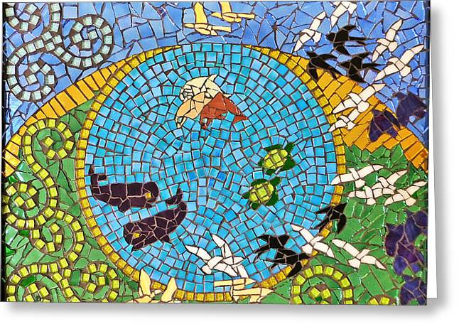 Religious Mosaic Mixed Media Greeting Cards - Genesis - Day Five Greeting Card by Elizabeth Baldwin Knight