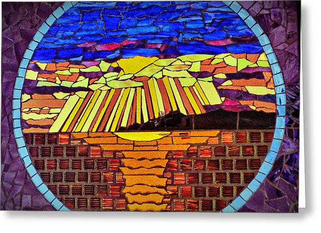 Religious Mosaic Mixed Media Greeting Cards - Genesis - Day Seven Greeting Card by Elizabeth Baldwin Knight