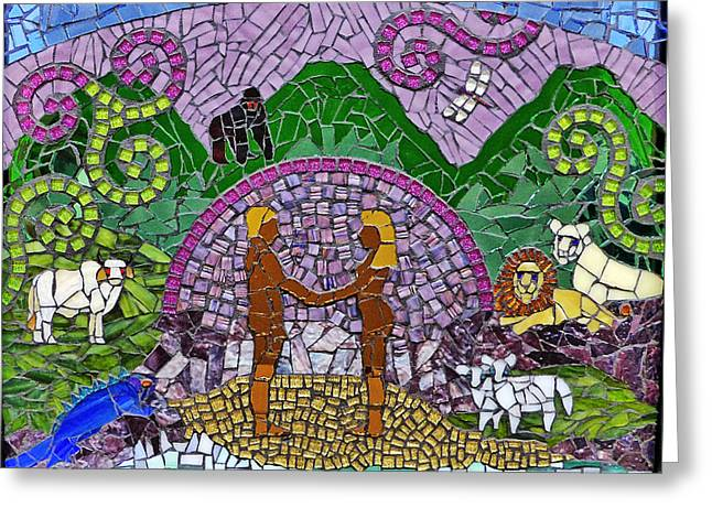 Religious Mosaic Mixed Media Greeting Cards - Genesis - Day Six Greeting Card by Elizabeth Baldwin Knight