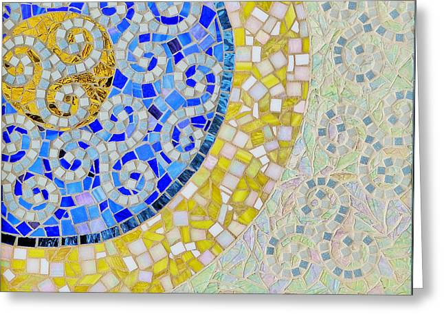 Religious Mosaic Mixed Media Greeting Cards - Genesis - Day Two Greeting Card by Elizabeth Baldwin Knight