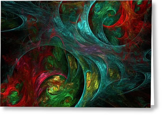 Abstract Digital Art Greeting Cards - Genesis Greeting Card by Oni H