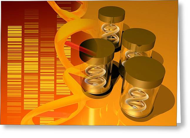 Helix Greeting Cards - Genetics Research, Artwork Greeting Card by Victor Habbick Visions
