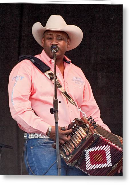 Zydeco Greeting Cards - Geno Delafose Greeting Card by Terry Finegan