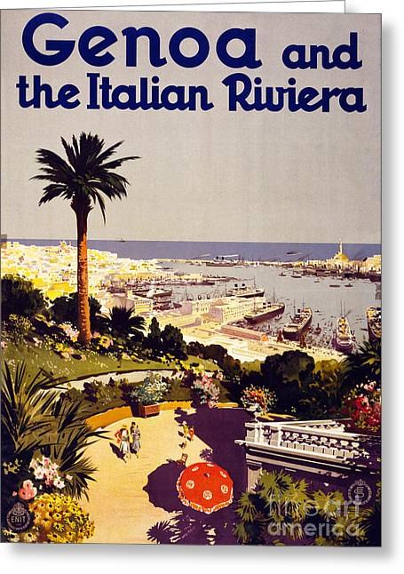 Europe Mixed Media Greeting Cards - Genoa and the Italian Rivera Vintage Poster Restored Greeting Card by Carsten Reisinger