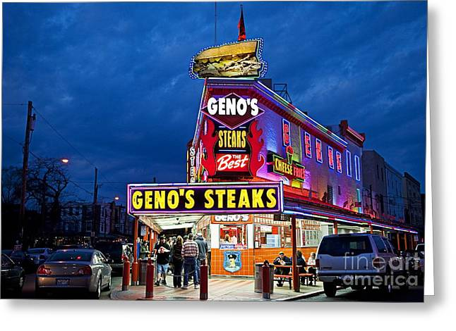 Phila Photographs Greeting Cards - Genos Steaks South Philly Greeting Card by John Greim