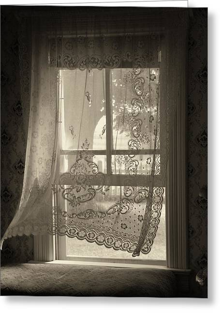 Lace Curtains Greeting Cards - Gentle Breeze Greeting Card by Lyle  Huisken
