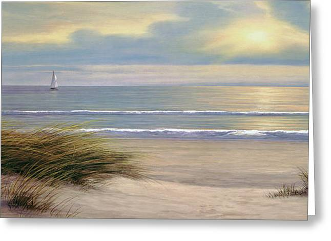 Panoramic Ocean Paintings Greeting Cards - Gentle Breeze Panoramic Greeting Card by Diane Romanello