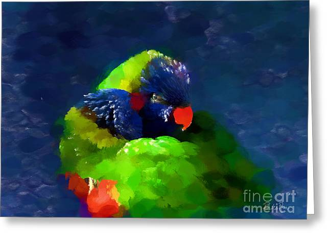 Parrot Digital Art Greeting Cards - Gentle Love Greeting Card by Betty LaRue