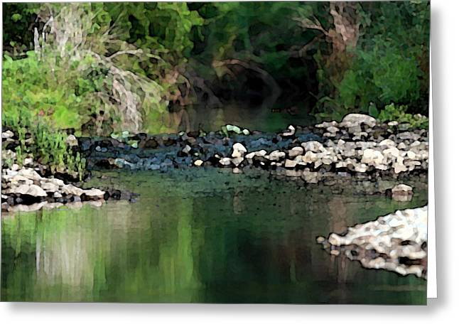 Babbling Digital Art Greeting Cards - Gentle stream meandering into Lake Michigan Greeting Card by Christopher Purcell