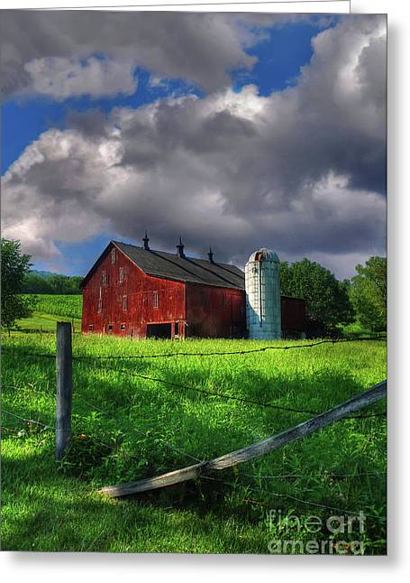 Barn And Silo Greeting Cards - Gentle Summer Greeting Card by Lois Bryan