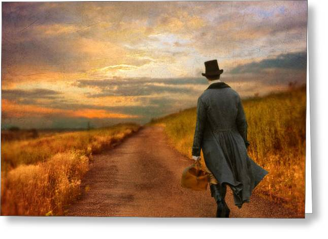 Gentleman Walking on Rural Road Greeting Card by Jill Battaglia