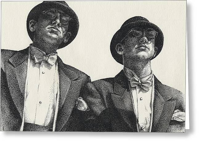 Stipple Greeting Cards - Gents Greeting Card by Amy S Turner