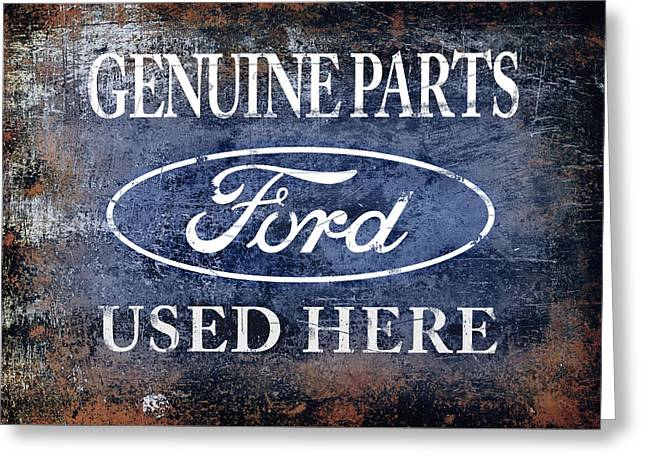 Ford V8 Greeting Cards - Genuine Ford Parts Greeting Card by Mark Rogan