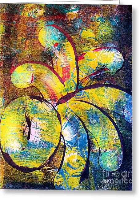 Printmaking Greeting Cards - Geometric Abstract Greeting Card by Laura L Leatherwood