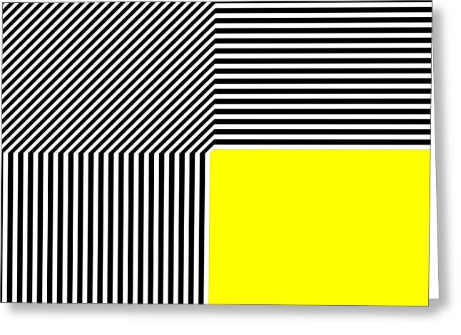 Geometric Style Greeting Cards - Geometric abstraction black and white stripes yellow square Greeting Card by Heidi De Leeuw