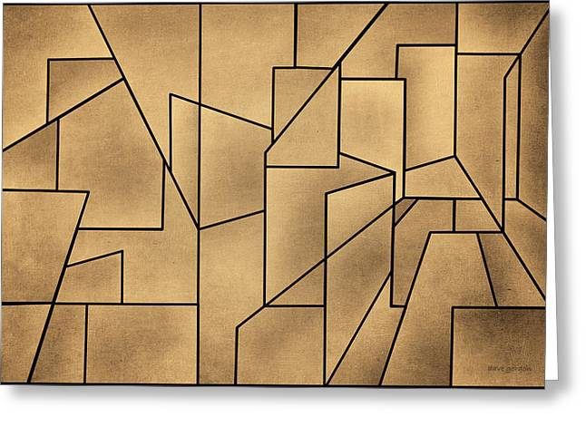 Dave Mixed Media Greeting Cards - Geometric Abstraction III Toned Greeting Card by David Gordon