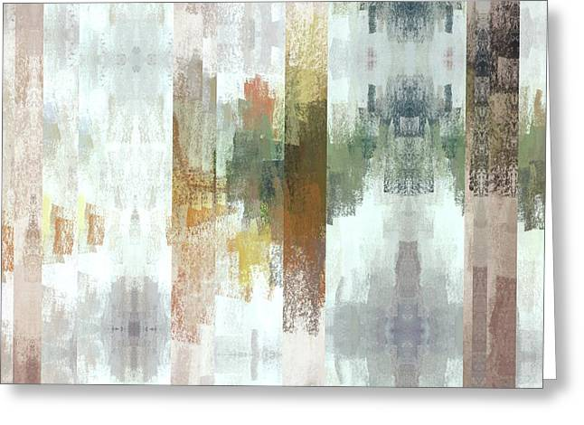 Geometric Bars And Abstract Muted Colors Greeting Card by Brandi Fitzgerald