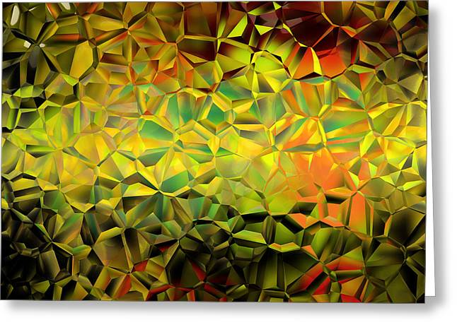 Geometric Artwork Greeting Cards - Geometric Golden Abstract Greeting Card by Lilia D