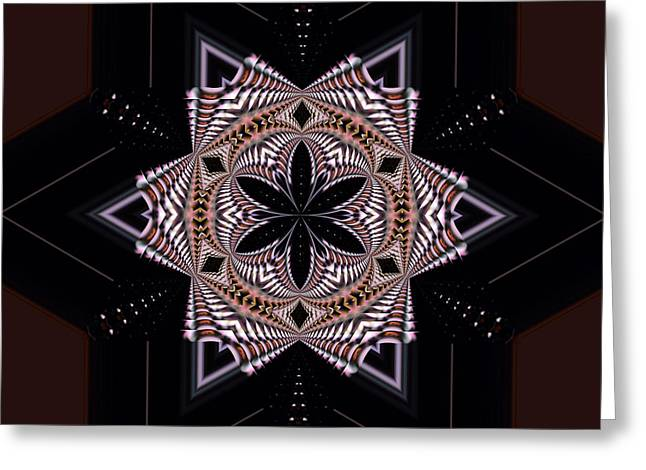 Line Graph Greeting Cards - Geometric Kaleidoscope Greeting Card by Laura Mountainspring