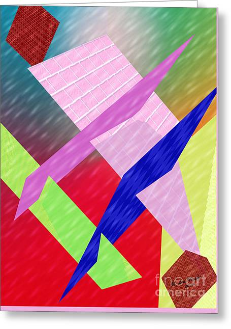 Rectangles Greeting Cards - Geometric Slices Greeting Card by Linda Troski