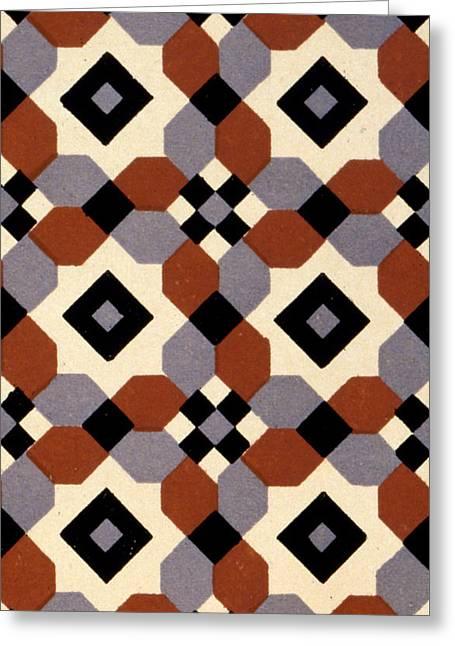 Geometric Textile Design Greeting Card by English School
