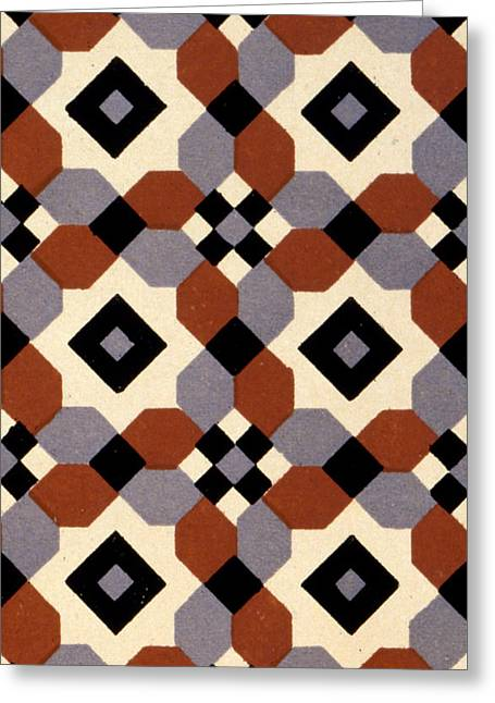 Cellphone Greeting Cards - Geometric Textile Design Greeting Card by English School