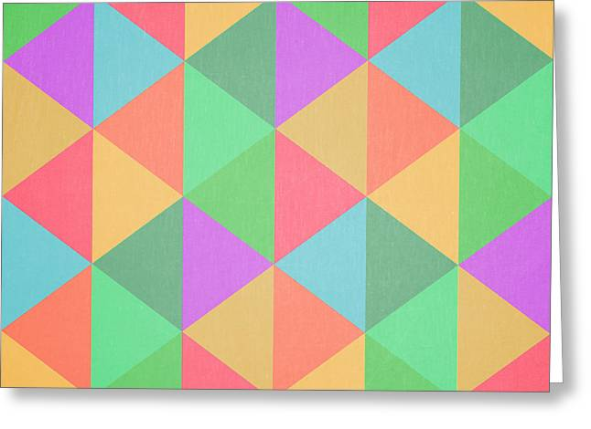 Geometric Shape Greeting Cards - Geometric Triangles Abstract Square Greeting Card by Edward Fielding