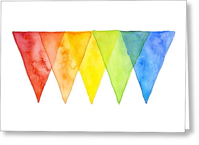 Colorful Geometric Greeting Cards - Geometric Watercolor Pattern Rainbow Triangles Greeting Card by Olga Shvartsur