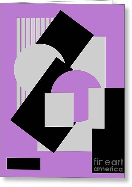 Geometrical Art Greeting Cards - Geometrical abstract art deco mash-up gray purple black Greeting Card by Heidi De Leeuw