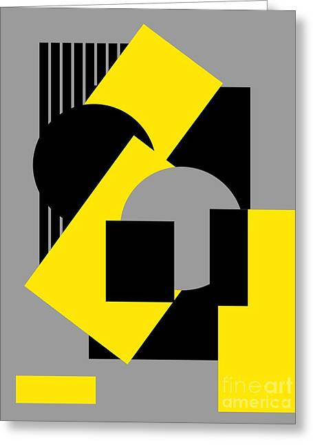 Geometrical Art Greeting Cards - Geometrical abstract art deco mash-up gray yellow Greeting Card by Heidi De Leeuw