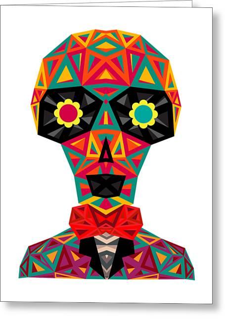 Geometrical Art Greeting Cards - Geometrical Skull Greeting Card by Chintami Ricci