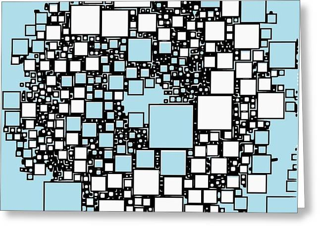 Geometric Artwork Greeting Cards - Geometrical square abstraction Greeting Card by Karolina Perlinska