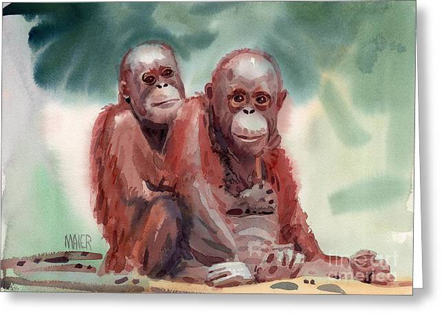 Orangutans Greeting Cards - George and Gracy Greeting Card by Donald Maier