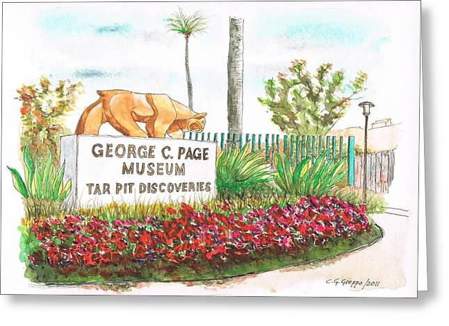 Acuarelas Greeting Cards - George C. Page Museum - Los Angeles - California Greeting Card by Carlos G Groppa