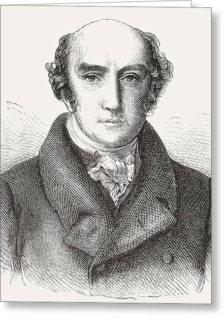 Statesmen Drawings Greeting Cards - George Canning, 1770 Greeting Card by Ken Welsh
