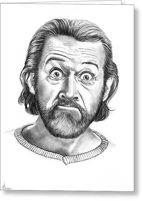 (murphy Elliott) Drawings Greeting Cards - George Carlin Greeting Card by Murphy Elliott